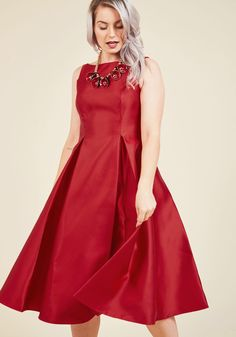 Red lame dress