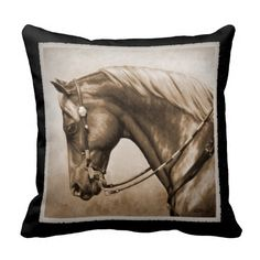 Western Pleasure Horse Old Photo FX Pillows. Artwork created from an original oil painting by equine artist Crista S. Forest.
