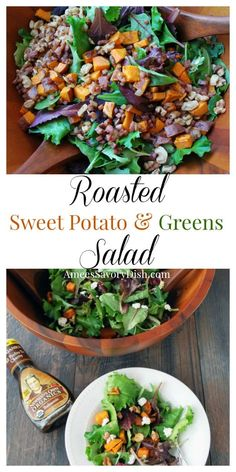 Roasted Sweet Potato and Greens Salad #ad #100percentprofitstocharity