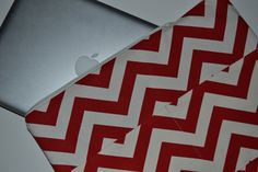 Mac Book Laptop sleeve 15 Inch / / Ready to ship Zipper close, Laptop cover in  Red Chevron Stripe  by Darby Mack. $36.00, via Etsy.