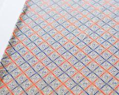 Soft Orange and Blue Graphic Criss Cross Plaid by felinusfabrics, $7.50