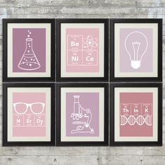 Nerdy Science Art in Pink & Purple set of 6 8x10 Instant