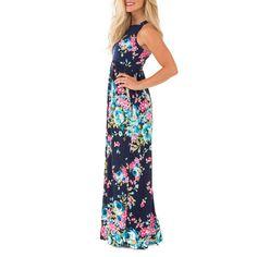 Boho Floral Printed Sundress O-neck Summer Sexy Pleated Maxi Dress 2017 Casual Beachwear.