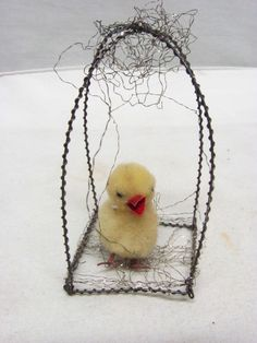 ANTIQUE GERMAN CHRISTMAS ORNAMENT CHICK IN CAGE TINSEL COTTON