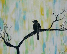 Bird on a Branch Silhouette on colorful background-16x20 via Etsy