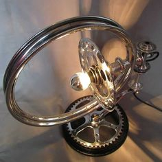 Bicycle parts table lamp collection by Velolumiere – For more great pics, follow www.bikeengines.com