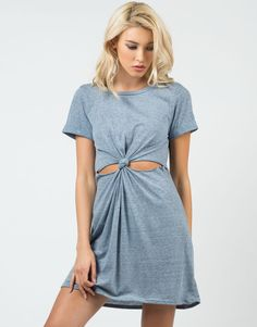 Casual with a twist! This Twist Front T-Shirt Dress features short sleeves with a scoop neckline and twist cut out on the front. It also is super light and soft for comfy wear. Just throw on your favo