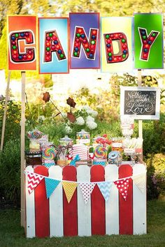 Cute decorations....red and white stripes with pennant flags, chalkboard sign, etc.