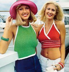 Two Vintage 1970s Midriff Halter Bra Bikini Top Knitting Patterns PDF