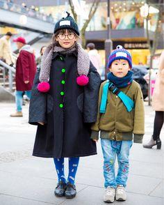 Natsuko and Atsuto on the street in Harajuku wearing kids winter styles with items by Franky Grow, Boo Foo Woo, and New Balance. High Fashion, Winter Fashion, Harajuku Japan, 6 Year Old, Canada Goose Jackets, Winter Jackets, Street Style, Model, Kids