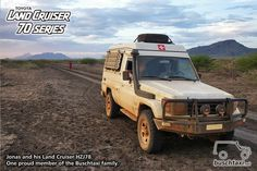 Jonas and his Land Cruiser HZJ78, somewhere in Africa. One proud member of the Buschtaxi Family.  #buschtaxi #landcruiser #70series #hzj78 #toyota