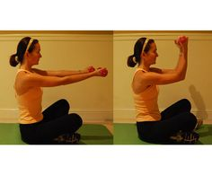 Right Angle Bicep Curl: A lot of times we do a full rotation for our biceps. Instead of taking the exercise all the way, start with your arms out in front of you and slowly pull them up in a right angle. Release them back into the starting position and repeat for 10 counts. Do a full three sets.