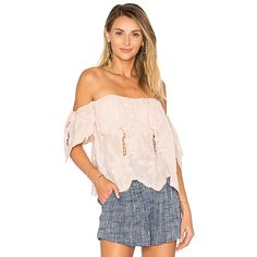 Lovers + Friends Life's A Beach Top ($140) ❤ liked on Polyvore featuring tops, fashion tops, loose fitting tops, off shoulder tops, off the shoulder eyelet top, sweetheart top and drapey tops