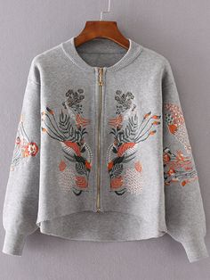 Shop Grey Flower Embroidery Dip Hem Zipper Up Sweater Coat online. SheIn offers…