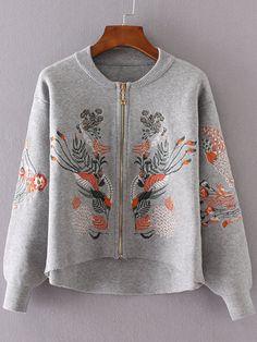 Shop Grey Flower Embroidery Dip Hem Zipper Up Sweater Coat online. SheIn offers…