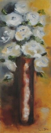 White roses in ochre pot White Roses, White Flowers, South African Art, Online Art Gallery, Peace, Sobriety, World