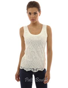Crochet Lace Overlay Tank Top Patty Boutik/Body: 94% Rayon 6% Spandex;  Lace: 100% Polyester