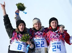 DAY 2:  (L-R) Silver medalist Staale Sandbech of Norway, gold medalist Sage Kotsenburg of the United States and bronze medalist Mark McMorris of Canada during the flower ceremony following the Snowboard Men's Slopestyle Final