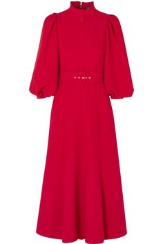 Andrew Gn - Belted Crepe Midi Dress - Red Source by netaporter dresses red Midi Flare Skirt, Red Midi Dress, Dress Skirt, Women's Dresses, Fashion Dresses, Look Chic, Classy Outfits, Designer Dresses, Cold Shoulder Dress