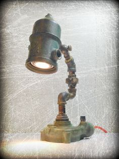 Neptune's Entrails ©  Found Object Steampunk Light by Assemblage Artist, Jay Lana