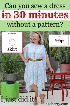 All you have to do to make this stylish flattering dress is cut the fabric - one square and one rectangle and sew only one seam. Sewing For Beginners Diy, Sewing For Dummies, Sewing Basics, Easy Sewing Projects, Sewing Tutorials, Sewing Tips, Sewing Hacks, Sewing Ideas, Sewing Crafts