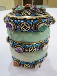 Vtg Silver Chinese Jeweled Jade Bangles Tea Caddy Cannister Other ...