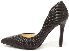 wow the price cheap women shoes .Jessica Simpson Caldas Black Leather Quilted D'Orsay Pumps