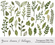 "Green leaf and foliage cliparts ""LEAF & FOLIAGE CLIPART"" Digital clipart for scrapbooking, card, invites. Green, leaf, foliage, cute."