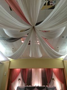 Pretty pink and grey Draping and details by Royal room weddings