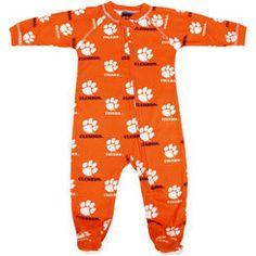 Clemson Tigers Infant Full-Zip Raglan Coverall Pajamas - Orange