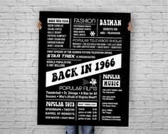The Year 1966, Back in the Day 1966, Fun Facts 1966, PRINTABLE 50th Birthday Chalkboard Poster Sign,  INSTANT DOWNLOAD