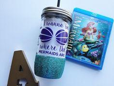 Ariel /// Mermaid /// Glitter Mason Jar Tumbler // by OhSoFabulous