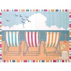 Delectably-Yours.com Seaside Chairs Coastal Beach Rug by United Weavers Regional Concepts