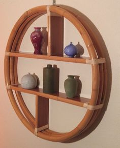 Art Deco Paul Frankl Style Round Bamboo Wall Shelf Mid
