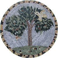 "20"" Tree Of Life Handmade Mosaic Rounded Medallion Mural Marble Mosaic MD1871"