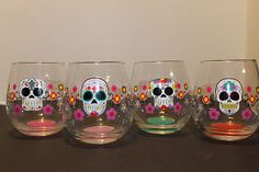 Sugar Skull Wine Glasses- @Lola Rodriguez I need these to increase my collection.