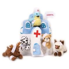 This is a cute idea I would have loved one when I was a kid. Plush Animal Hospital House with Animals - Five (5) Stuffed Injured Animals (Bear, Dalmatian, Cat, Bird, Moose) in Play Hospital Carrying Case $25.63