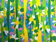 Vintage 60s Mod Daisy Flower Fabric Pink Lime Green Bright Yellow and Blue Striped Cotton Mid Century Shift Dress Home Decor Cute Bright Fun...