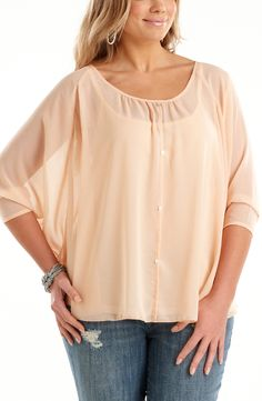 Scoop hemline top.