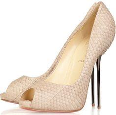 0acb222053b Christian Louboutin snake skin peep toe in beige. Pink Pumps