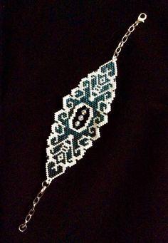 Armband geweven, in brick stitch, miyuki delica's en swarovski