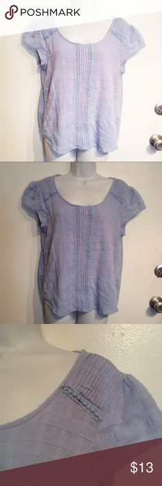 """🌟5 for $25🌟Lauren Conrad Crochet Embroidered Top LC Lauren Conrad plus size light blue top with crochet and embroidered details. Cap sleeves. Some loose threads. Size XXL. Measures 21"""" flat from armpit to armpit and 22"""" long. No modeling. Smoke free home. Everything in my closet is 5 for $25! LC Lauren Conrad Tops"""
