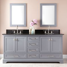 "72"" Quen Double Vanity for Undermount Sinks - Gray- $1850 configured"