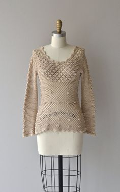 Isla sweater vintage 70s crochet sweater cotton por DearGolden