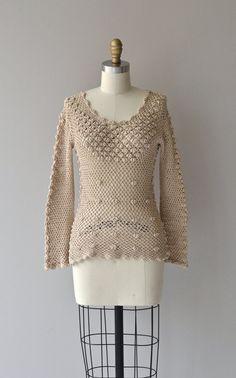 Isla sweater vintage 70s crochet sweater cotton by DearGolden