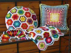 DIY Crochet African Flower Pattern Cushion and Blanket - Crochet Craft, Crochet Cushion, Crochet Pillow