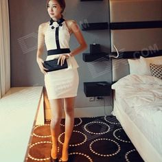 Color: White + Black; Size: Free Size; Brand: NRJ; Model: 3751#; Quantity: 1 Piece; Shade Of Color: White; Material: Net yarn, stretch cotton; Style: Fashion; Shoulder Width: 32 cm; Chest Girth: 66~98 cm; Waist Girth: 64~84 cm; Hip Girth: 64~94 cm; Total Length: 78 cm; Suitable for Height: 160~175 cm; Other Features: Makes you more sexy and elegant, highlights your body lines; Packing List: 1 x Dress; http://j.mp/1lkkUrR