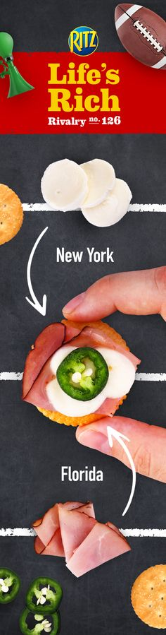 When in need of the perfect game day recipe, spice up that football rivalry by bringing Florida fans (who love ham) and New York fans (who love cheese) together. To craft the perfect Spicy Jamon & Cheese, follow this simple recipe: 1. Top RITZ Crackers w/ deli ham slices & mozzarella cheese 2. Bake for 3 minutes or until cheese is melted 3. Top w/ a jalapeño pepper slice. Nothing like an easy, delicious appetizer recipe to serve up right before kickoff!