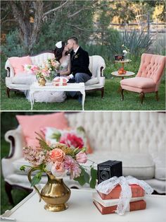 Peachy Keen Wedding Inspiration - Lounge Seating - Ideas of Lounge Seating - Chairished Dream: Want a bride to pair our new cream sofa with pink plush chairs Vintage Furniture Wedding, Shabby Chic Furniture, Luxury Furniture, Painted Furniture, White Furniture, Metal Furniture, Rustic Furniture, Victorian Furniture, Primitive Furniture