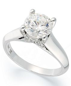 X3 Diamond Ring, 18k White Gold Certified Diamond Solitare Engagement Ring (1-1/2 ct. t.w.)